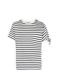 T-shirt girocollo a righe orizzontali bianca e blu scuro di JW Anderson