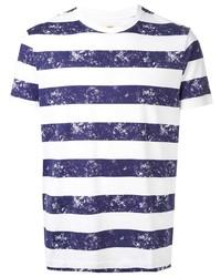 T-shirt girocollo a righe orizzontali bianca e blu scuro di Kent & Curwen