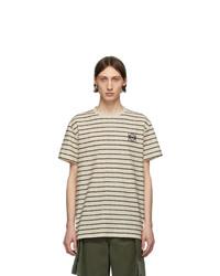 T-shirt girocollo a righe orizzontali bianca e blu scuro di Loewe