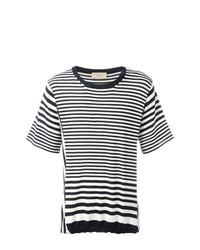 T-shirt girocollo a righe orizzontali bianca e blu scuro di Maison Flaneur
