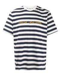 T-shirt girocollo a righe orizzontali bianca e blu scuro di Sunnei