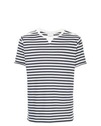 T-shirt girocollo a righe orizzontali bianca e blu scuro di Takahiromiyashita The Soloist
