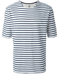T-shirt girocollo a righe orizzontali bianca e blu scuro di Wood Wood