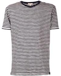 T-shirt girocollo a righe orizzontali bianca e nera