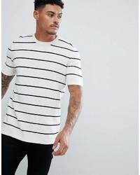 T-shirt girocollo a righe orizzontali bianca e nera di Asos