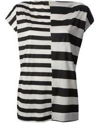 T-shirt girocollo a righe orizzontali bianca e nera di By Malene Birger