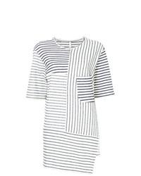 T-shirt girocollo a righe orizzontali bianca e nera di Forme D'expression