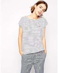 T-shirt girocollo a righe orizzontali bianca e nera di Fred Perry