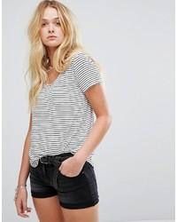 T-shirt girocollo a righe orizzontali bianca e nera di Hollister
