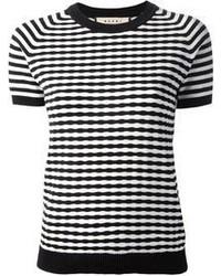 T-shirt girocollo a righe orizzontali bianca e nera di Marni