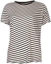 T-shirt girocollo a righe orizzontali bianca e nera di R 13