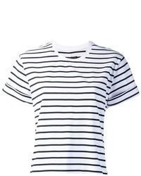 T-shirt girocollo a righe orizzontali bianca e nera di Rag and Bone