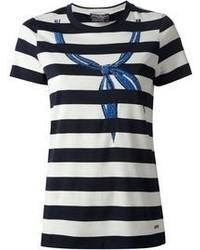 T-shirt girocollo a righe orizzontali bianca e nera di Salvatore Ferragamo