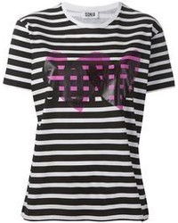 T-shirt girocollo a righe orizzontali bianca e nera di Sonia Rykiel