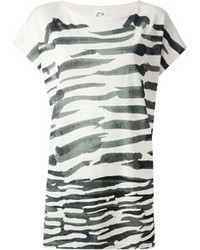 T-shirt girocollo a righe orizzontali bianca e nera di Tsumori Chisato