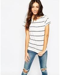 T-shirt girocollo a righe orizzontali bianca e nera di Vero Moda