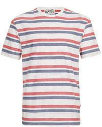 T-shirt girocollo a righe orizzontali bianca e rossa e blu scuro