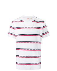 T-shirt girocollo a righe orizzontali bianca e rossa e blu scuro di Levi's