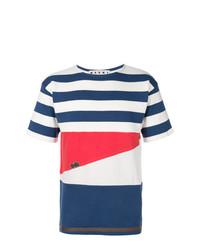 T-shirt girocollo a righe orizzontali bianca e rossa e blu scuro di Marni