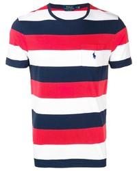T-shirt girocollo a righe orizzontali bianca e rossa e blu scuro di Polo Ralph Lauren