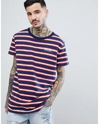 T-shirt girocollo a righe orizzontali bianca e rossa e blu scuro di Rollas