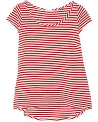 T-shirt girocollo a righe orizzontali bianca e rossa