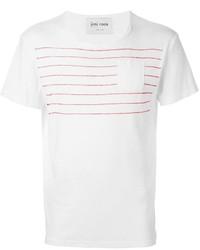T-shirt girocollo a righe orizzontali bianca