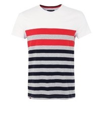 T-shirt girocollo a righe orizzontali bianca di Tommy Hilfiger