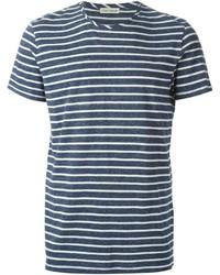 T-shirt girocollo a righe orizzontali blu scuro e bianca