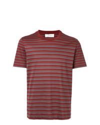 T-shirt girocollo a righe orizzontali bordeaux di Cerruti 1881
