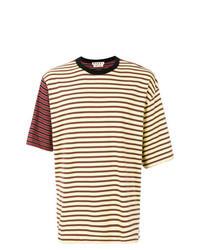 T-shirt girocollo a righe orizzontali gialla