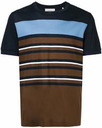 T-shirt girocollo a righe orizzontali marrone scuro