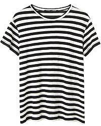 T-shirt girocollo a righe orizzontali nera e bianca