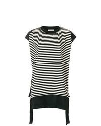 T-shirt girocollo a righe orizzontali nera di Moncler