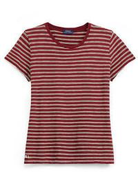 T-shirt girocollo a righe orizzontali rossa