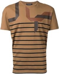 T-shirt girocollo a righe orizzontali terracotta di Neil Barrett