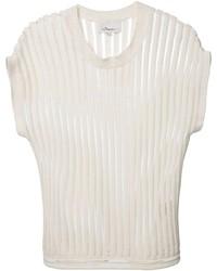 T-shirt girocollo a righe verticali bianca