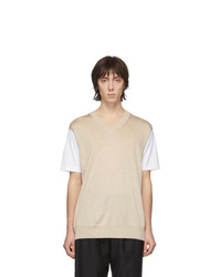 T-shirt girocollo beige di Junya Watanabe