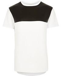 T-shirt girocollo bianca e nera