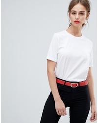 T-shirt girocollo bianca di Pieces
