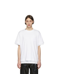 T-shirt girocollo bianca di Sacai