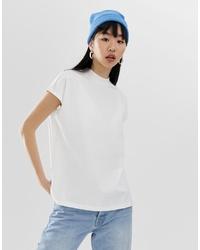 T-shirt girocollo bianca di Weekday