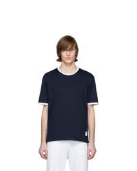 T-shirt girocollo blu scuro di Thom Browne