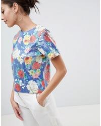 T-shirt girocollo con paillettes a fiori multicolore di ASOS DESIGN