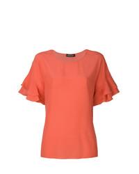 T-shirt girocollo con volant arancione di Twin-Set