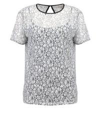 T-shirt girocollo di pizzo a fiori bianca di Michael Kors