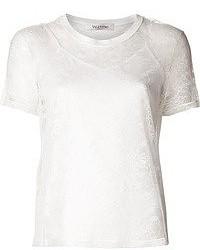 T-shirt girocollo di pizzo bianca