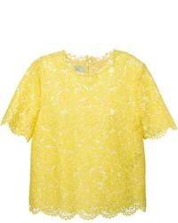 T-shirt girocollo di pizzo gialla di Valentino