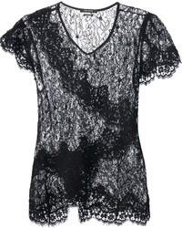 T-shirt girocollo di pizzo nera di Isabel Marant