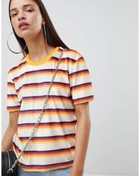 T-shirt girocollo di velluto a righe orizzontali multicolore di The Ragged Priest